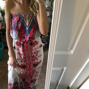 Colorful Strapless Maxi Dress